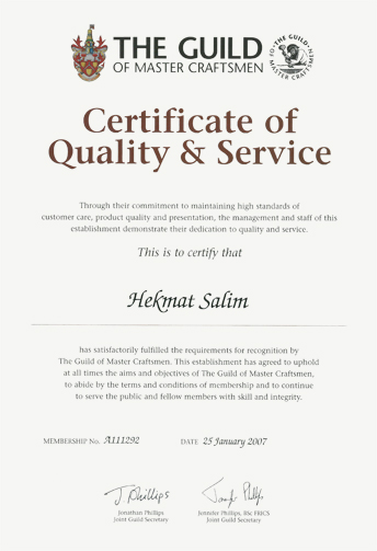 Certificate of Quality & Service